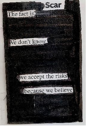 Scarthe fact is,we don't know we accept the risksbecause we believe