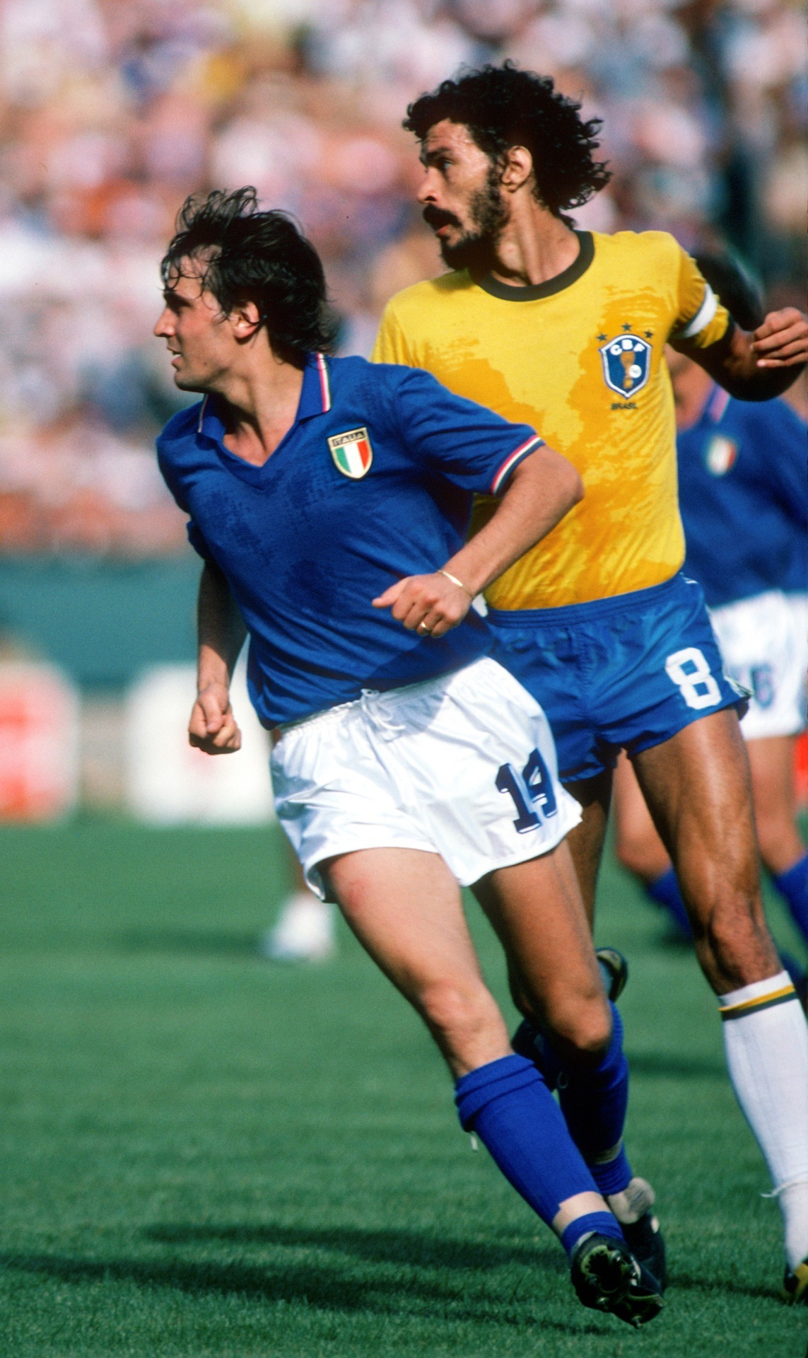 Socrates v Marco Tardelli, 1982 World Cup final.