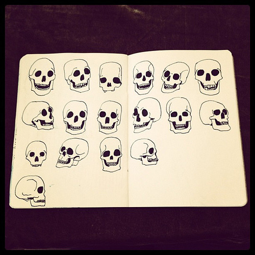 skulls, part of sketchbook project limited edition