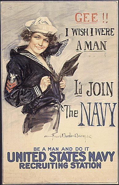 americanpropaganda:  Old recruitment ad for the United States Navy.  My friend and I re-drew this poster for a project in 8th grade social studies. If I recall correctly, it actually turned out really well. Remember when they called history 'social studies'? heh