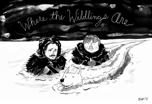 """Where the Wildlings Are"" Here's a fun bit of Game of Thrones / A Song of Ice and Fire fan art featuring Jon Snow, Sam and Ghost beyond the Wall."