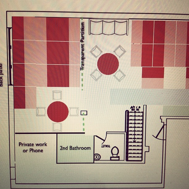 8:36PM: Revising floorplans (Taken with Instagram at The Webbles)