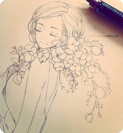 myrollingstar:  primroses, along with daisies, are my favorite flowers!     finally almost done with this sketch book that I started in late 2010… _ノ乙(、ン)
