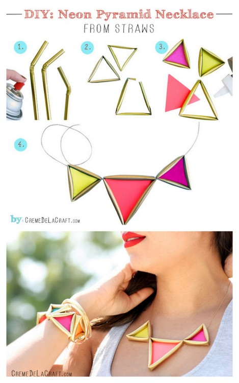 DIY Drinking Straw Geometric Jewelry. I'm posting this on my kids' blog because this could be really cute kids' or trendy grownups' jewelry that you won't cry over it something happens to it. Really clever tutorial from Creme de la Craft here.