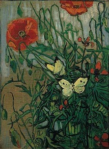 van gogh poppy and butterflies