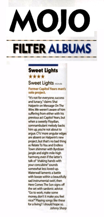 Sweet Lights - Sweet Lights out NOW in the UK on CD, gatefold LP, and gatefold digital. Visit your local record store if yr local to the UK and grab a copy today! I've yet to see the vinyl so snap a photo and send it over. 4 stars in MOJO. Sweeeeet.