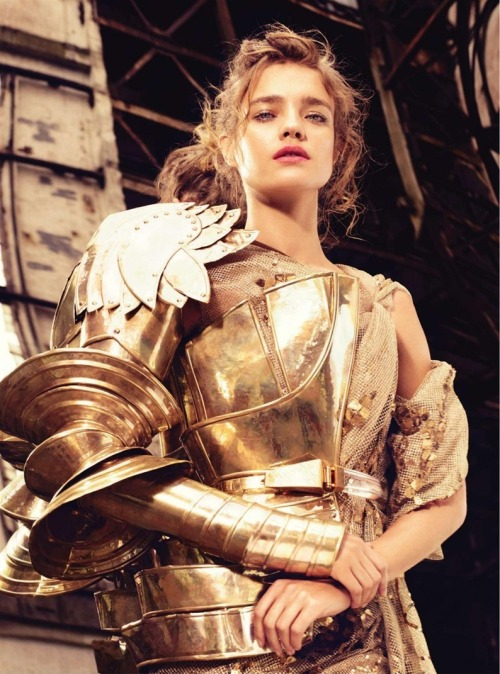gasstation:  Natalia Vodianova in Dior - Bazaar UK photographed by Michelangelo di Battista, Decemer 2010  I love the Joan of Arc look on this angelic face.