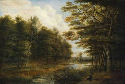 thorsteinulf:  Lucas van Uden - Landscape with Figures  Fine treatment of water and trees—perhaps the polar opposite of impressionist brushwork.