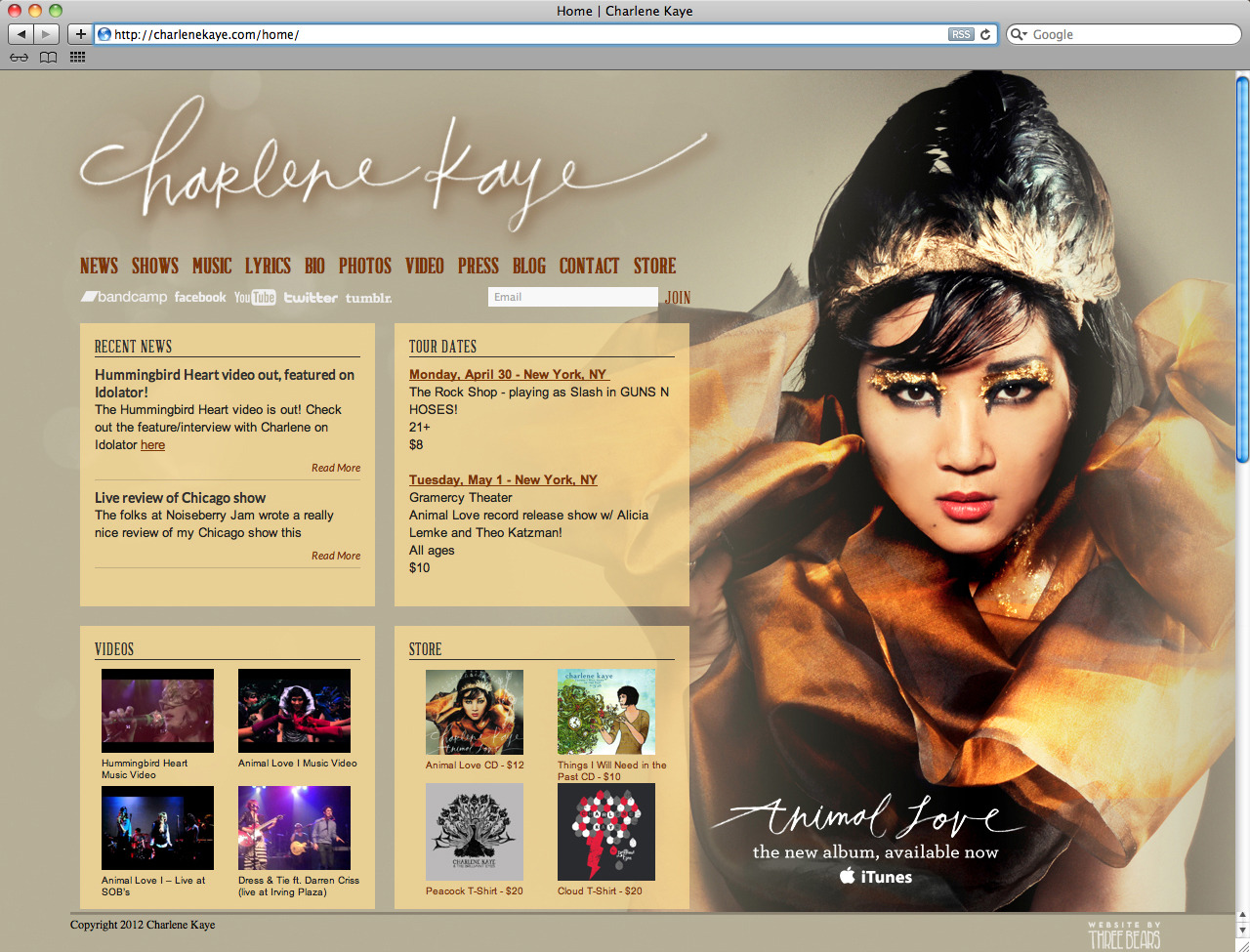 Just finished the new Charlene Kaye site! My very talented designer friend, Charlie Wagers, designed the site and I developed it. Charlene has recorded duets with Darren Criss (Glee), has been heard on the show Chuck, sold-out national tours, and most recently raised over $30k on Kickstarter for her newest album, Animal Love. Her new album launches May 1st, and to coincide with her release she wanted a new updated site. Charlie did the page design and I developed the site in WordPress. The site has a few fun features like a dashboard style home page, custom scrollbars, and quick filtering for the lyrics section. Check out her new site and new album which releases tomorrow!