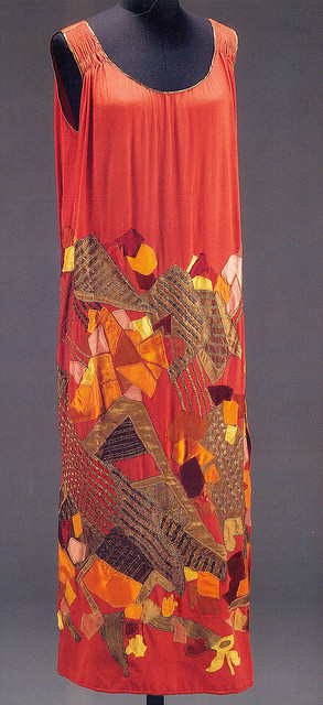 Dress by Natalia Goncharova, 1924 on Flickr.  Click image for 1025 x 2245 size. Scanned from the book Art Deco 1910-1939.