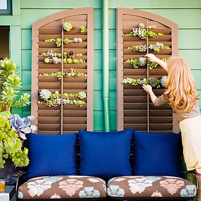 Salvaged shutter garden