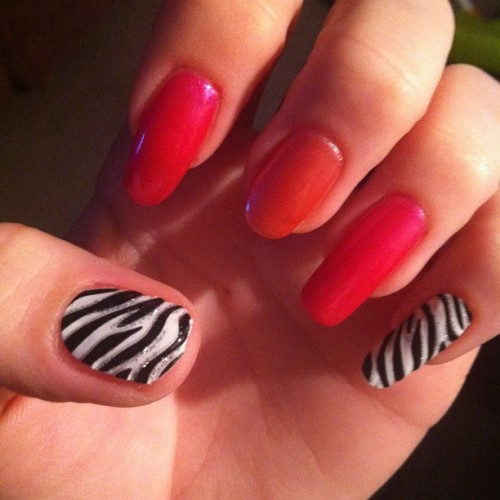 #nails#nailpolish#nailart#animalprint#zebra#zebraprint #lmfao #colorful #awesome #popular #pretty #justme #random #igdaily #igaddict #instagramhub #happy #love #instagrammers #iphone4 #igers #f4f #ifollowback #venique (Taken with instagram)