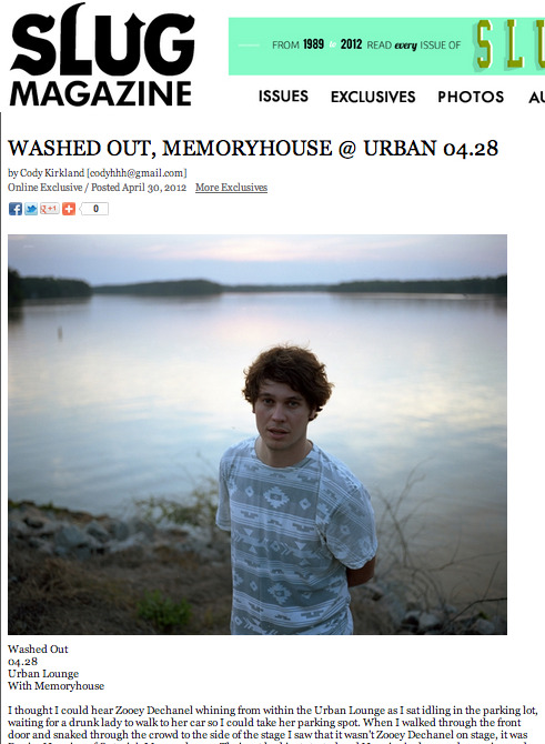 "I wrote a piece on the Washed Out show in SLC on Saturday. Shit was ILL. ""I couldn't just stand and wait so I risked losing my prime spot and dashed to the bar, threw down a fiver and gulped a bottle of Steam in seconds flat. As if on cue, Greene and his crew filed on stage and launched immediately into a face-vibrating rendition of ""Echoes"" from Within and Without. Everyone was caught a little off guard—an insane flashing wall of purple light behind a live drummer, bass/synth player and Greene's wife playing additional synths, Washed Out felt bigger than anyone expected. Greene's haunting vocals and keys were backed by cell-liquefying bass and eerie synth, all set to a spot-on driving drum beat you could feel in your stomach. This intro set the bar high, but Greene and the band were killing it song after song, each better than the last."""