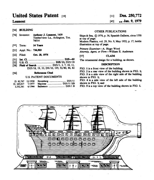 archiveofaffinities:  Anthony J. Leamont, United States Patent 250,772, Design for a Building, 1979