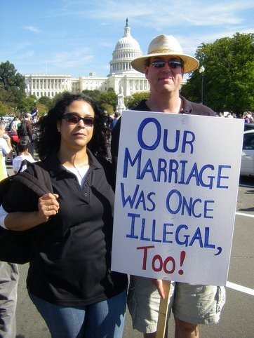 "This couple at a recent rally brought to mind some thoughts of marriage equality of all kinds from someone else:""Surrounded as I am now by wonderful children and grandchildren, not a day goes by that I don't think of Richard and our love, our right to marry, and how much it meant to me to have that freedom to marry the person precious to me, even if others thought he was the ""wrong kind of person"" for me to marry. I believe all Americans, no matter their race, no matter their sex, no matter their sexual orientation, should have that same freedom to marry. Government has no business imposing some people's religious beliefs over others. Especially if it denies people's civil rights. I am still not a political person, but I am proud that Richard's and my name is on a court case that can help reinforce the love, the commitment, the fairness, and the family that so many people, black or white, young or old, gay or straight seek in life. I support the freedom to marry for all. That's what Loving, and loving, are all about.""—-Mildred Loving, one of the plaintiffs in the Loving v. Virginia case, which struck down all anti-miscegenation laws in the United States, on the 40th anniversary of the court ruling that bears her and her husband's name"
