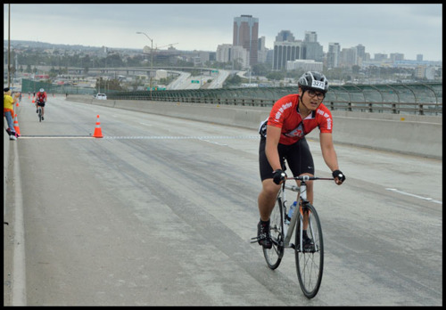 Me in the 2012 Long Beach Tour de Cure!I was probably the only RED rider to do it on a fixed gear!
