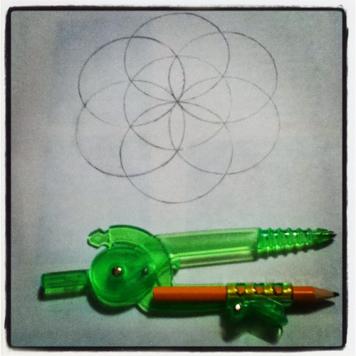 teacuponwheels:  If you're not prepared for a lesson on sacred geometry, keep on scrolling. This is the Seed of Life. It can be found in the pattern known as the Flower of Life, the flower or life pretty much being a basis of everything, to put it quite bluntly. Within the seed of life, pictured above, can be found the egg of life, which is the basis of music (the pattern is composed of seven circles - if you know really anything about music, you know there are seven notes). The egg of life also resembles what you look like when you are just starting out as a couple of cells. The pattern starts off with the vesica piscis, which contains a vast amount of information, such as depth, proportion, and the square roots of 2, 3, and 5. The pattern of the Flower of life and all of its little components can be found in ALL of the world's major religions. All of em. And another thing that's neat - In Christianity, God took seven days to make the world, yes? Again, the seed of life is composed of seven circles. That is only ONE of the many, many relations between this pattern and the religions of the world. To put it in the simplest of ways, the flower of life is basically the basis for absolutely everything. Yes, even you.  And so here is my little seed of life for you.
