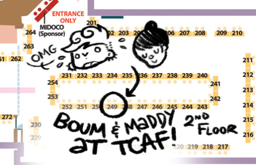 The Toronto Comic Arts Festival Floor Map has been released! It's INSANE! Frankly I have no idea how I'll be able not to faint in shame/fangirlism. If I'm still in one piece then, you'll be able to find me and Madéleine Flores at table 249, on the second floor! Come and say hi, we'll have stuff to sell, and our stuff is nice. See you this weekend, Toronto! <3