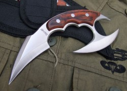 weaponzone:  Fury Double Edge Strong Karambit (Sharpened)  Sadly I can not find any place that carries this thing aside from a store in Canada, yet alone find any other karambit like it.