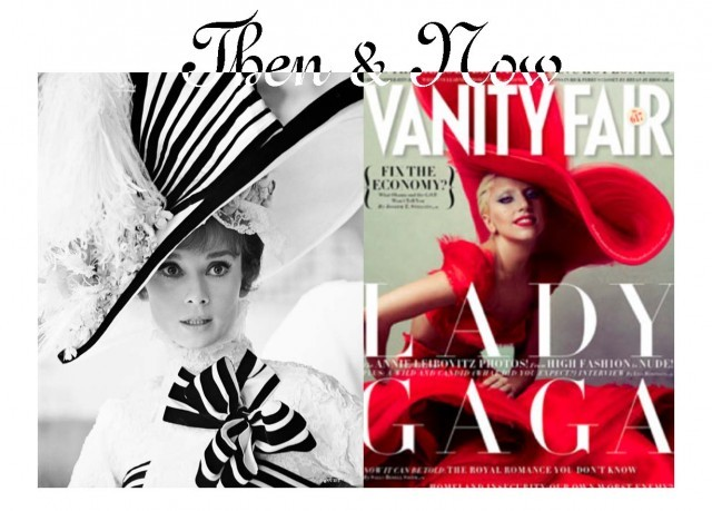 (left) My Fair Lady, 1964. Costume design by Cecil Beaton. (right) Lady Gaga, Vanity Fair, January 2012. Photograph by Annie Leibovitz.