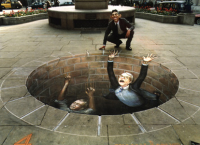 This hazardous pit is designed to resemble an ultra-realistic 3D chalk painting.