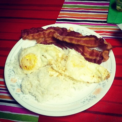 Finished product. #bacon #eggs #rice #goodeats (Taken with instagram)