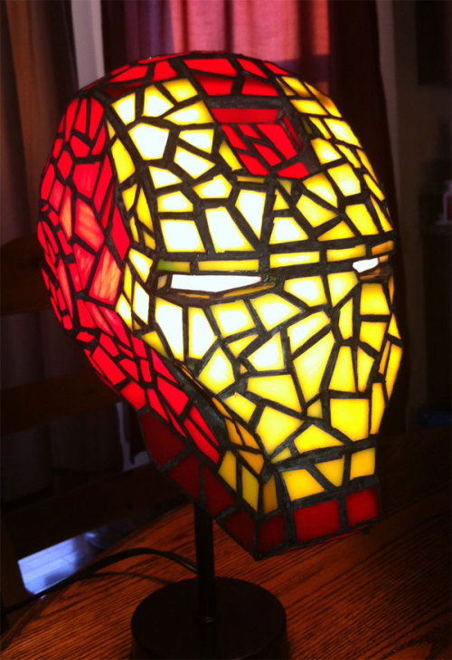 albotas:  A Little Bit On Lampy Side: Stained glass Iron Man lamp by Michael McLane. If I knew how to make stained glass lamps, I'd have a house full of stained glass boobie lamps. True story. (via Obvious Winner)