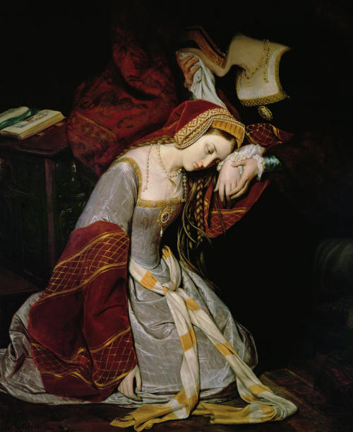 dieu-etmondroit:  May 2nd 1536: Anne Boleyn, Queen of England, is arrested and imprisoned on charges of adultery, incest, treason and witchcraft. Anne Boleyn in The Tower, by Édouard Cibot