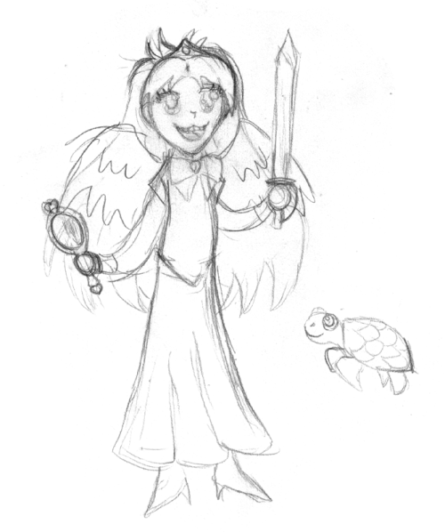 Sburb Scrae's RP character (as drawn by Scrae).  Scrae's character has a magic mirror that makes everyone like him, and nobody makes fun of him for dressing up as a girl, and everyone thinks he's pretty.  He also can talk to sea turtles.  Also, his character didn't get his front two teeth knocked out in a training accident with his brother.  Oh, and of course he has wings and can fly.