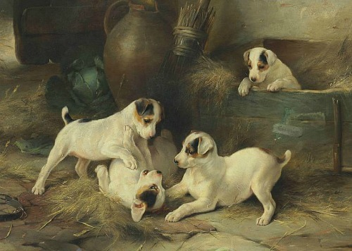 Walter Hunt Four Puppies at Play 1903