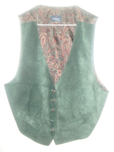 SOLD! Vintage vest, dark green suede and brown/green/red/beige paisley, filigree plastic buttons, 2 functional pockets in the front, elastic in the back, 100% leather and acetate, made in France, 20$