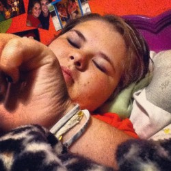 This is my sister @huntermckenzie. She is acting like she's asleep. :) I miss her. #CollegeLife #Family #Sister #Imissyou #Miss #Fam #FamilyTime #Weekend #NoSchool #Sleep #Bed #OldPic #Yeah (Taken with instagram)