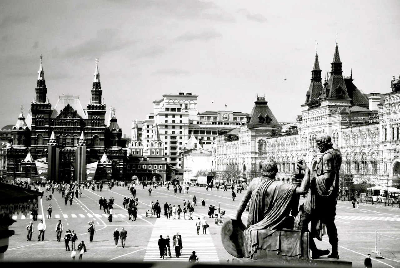 Red Square in black and white, Moscow