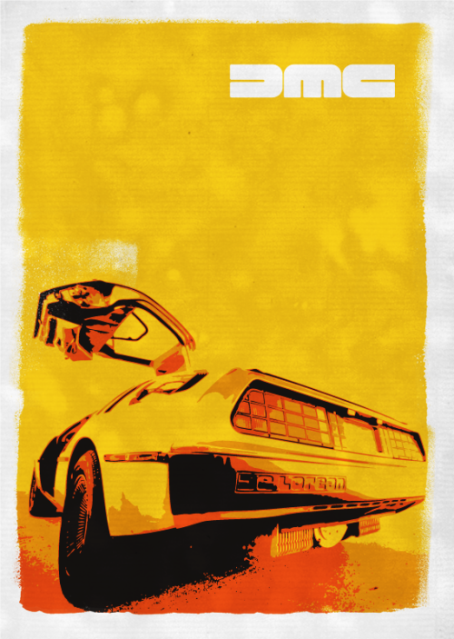 Retro DeLorean Poster