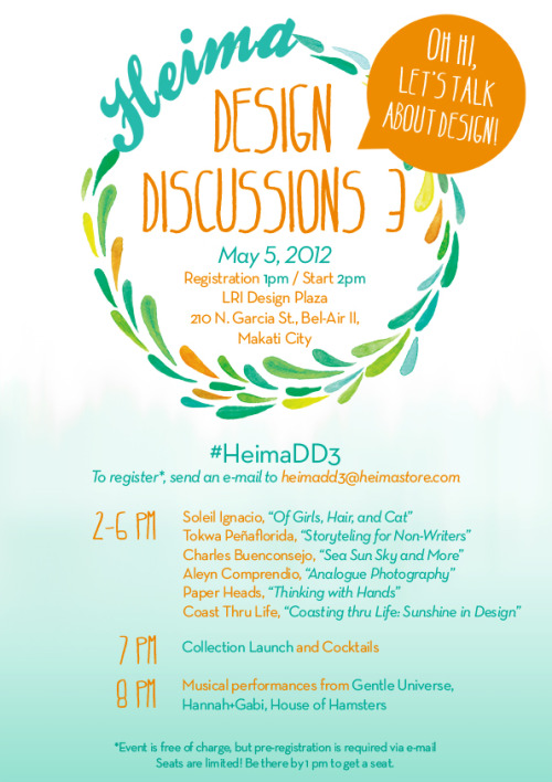 heimastore:  HEIMA Design Discussions 3 this coming Saturday  register by sending an email to heimadd3@heimastore.com!