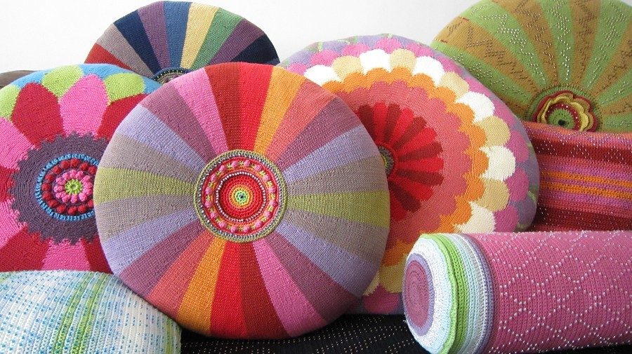 * Delicious lolly-coloured crocheted cushions *  Patterns available from Janie Crow
