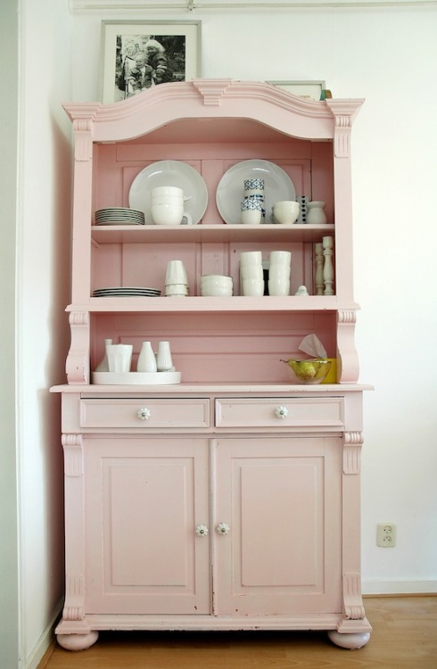myidealhome:  delicate pink cabinet (via April and May: the home of Ilse)