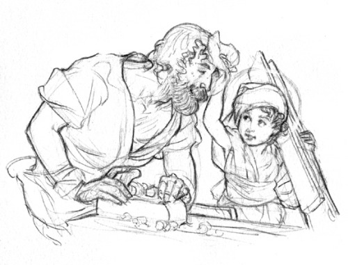 St. Joseph the Worker and his little Apprentice  [Photo:  Drawing by Anthony Van Arsdale from The Catholic Illustrator's Guild]