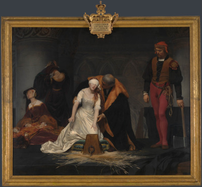 Paul Delaroche, The Execution of Lady Jane Grey, 1833 (London, England, The National Gallery)  Jane became queen after the death of her cousin, Edward VI in 1553. As a Protestant, Jane was crowned queen in a bid to shore up Protestantism and keep Catholic influence at bay. The plan didn't work. Jane's claim to the crown was much weaker than [that of] Edward VI's half sister Mary. Mary, a Catholic, had popular support and soon replaced Jane as queen. Lady Jane Grey was executed at Tower Green on 12 February 1554. She was just 16 years old. In this painting, she is guided towards the execution block by Sir John Brydges, Lieutenant of the Tower. The straw on which the block rests was intended to soak up the victim's blood. The executioner stands impassive to the right and two ladies in attendance are shown grieving to the left. The painting was exhibited in Paris at the city's famous Salon in 1834, where it caused a sensation. — The National Gallery