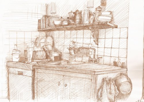 Ink sketch : kitchen.