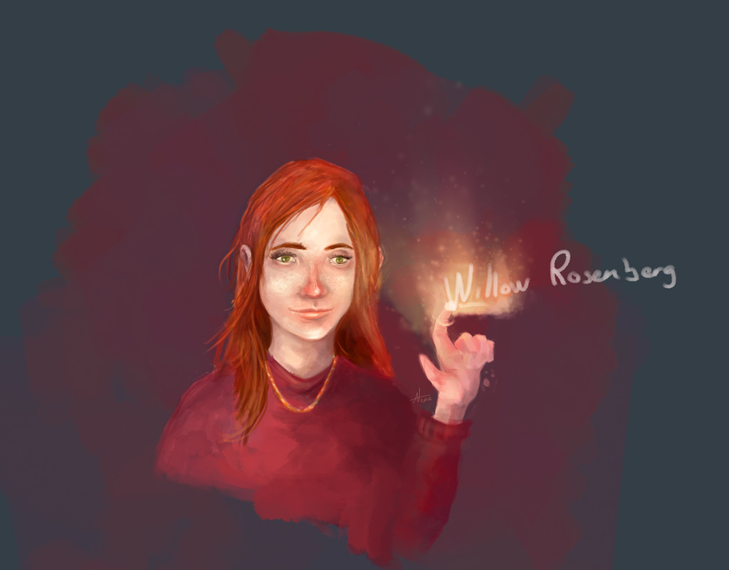 Willow Rosenberg.  Painted with colours directly and not greyscale for the first time in ages . Odd.
