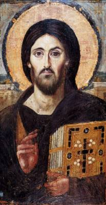 Oldest known surviving image of Christ Pantocrator, 6th century, St. Catherine's Monastery on Mt. Sinai. Jesus Christ WTF is wrong with your left eye