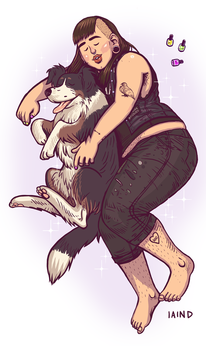 Second of my Punx 'n Pups for some rad tumblrfolx! This one is of Bridget and her gorgeous baby Katie. Bridget is a total hero of mine and you should probably follow her if you don't already. Hope this makes your kinda crappy day less crappy!