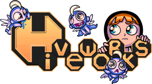 yamino:  The Sister Claire version of the Hiveworks logo, soon to appear on SisterClaire.com. Hiveworks is a new webcomic network started up by my publicist Jojo!  Check out the other cool comics we are affiliated with! 8D   Cute!!