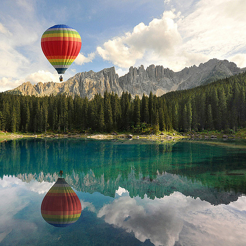 Balloon flight over the Dolomites