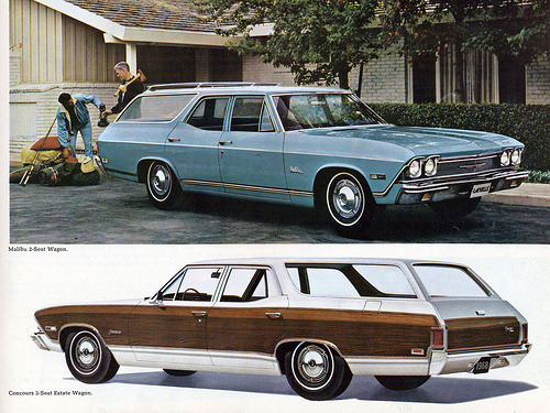 1968 Chevrolet Chevelle Malibu Wagon and Concours Estate Wagon (by coconv)