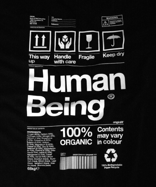 origin68:  Human Being packaging t-shirt Available at http://www.origin68.com/products