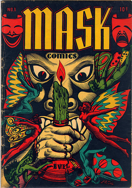 How amazingly creepy is that? Mask Comics #1; 1945, Art by LB Cole