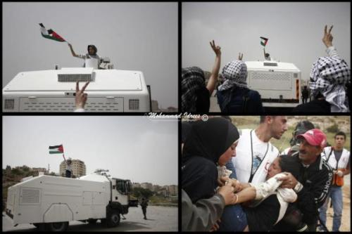 """Flag Girl"" defies Israel, places Palestinian flag on top of skunk truck, gets peppersprayed & almost arrested"