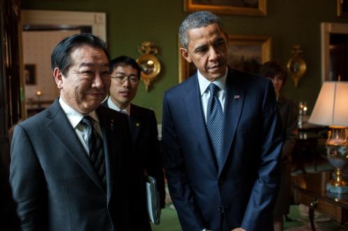 President Barack Obama and Prime Minister Yoshihiko Noda of Japan wait in the Green Room of the White House before the start of their press conference in the East Room, April 30, 2012. (Official White House Photo by Pete Souza)